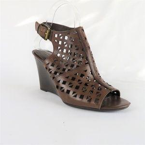 Franco Sarto Brown Slingback Peep Toe Sandals